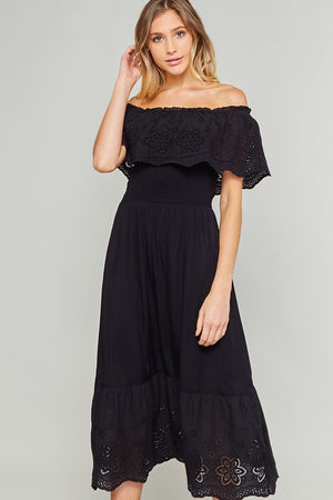 Off the Shoulder Smocked Dress