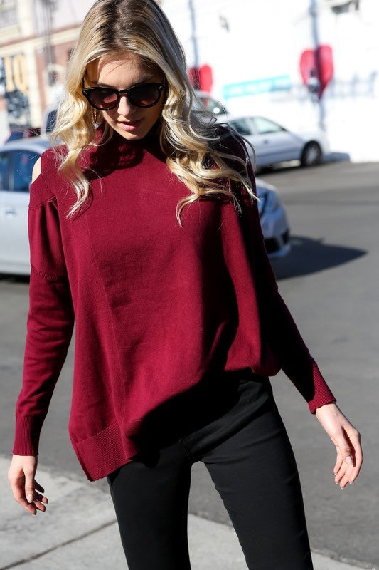 Ribbed Mock Turtleneck (Wine)