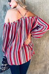 Off the Shoulder Striped Top (Red)