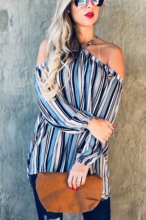 Off the Shoulder Striped Top (Blue)