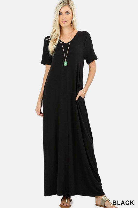 Short Sleeve Maxi with Pockets (Black)