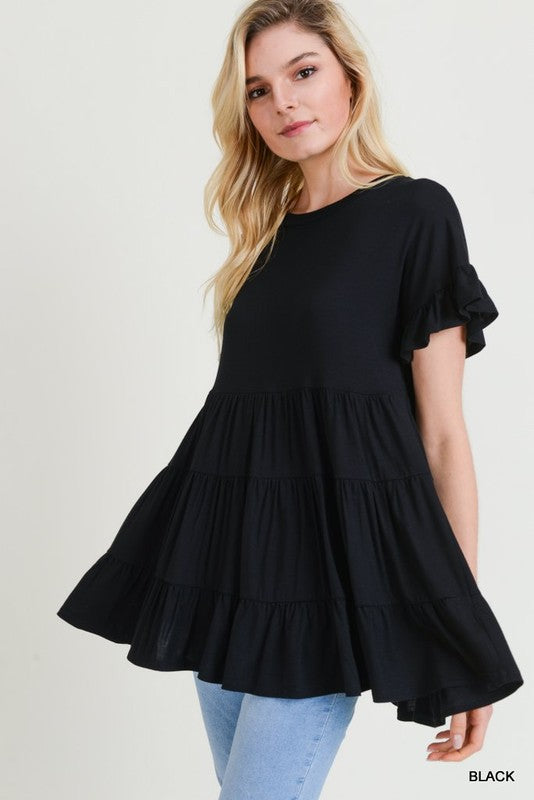 Tiered Ruffle Top (Black)