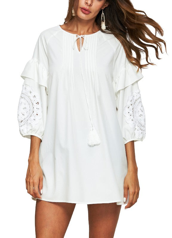 Puff Sleeve Lace Trim Dress