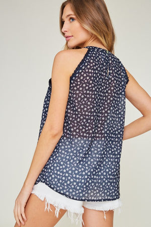 Sleeveless Floral Blouse (Navy)