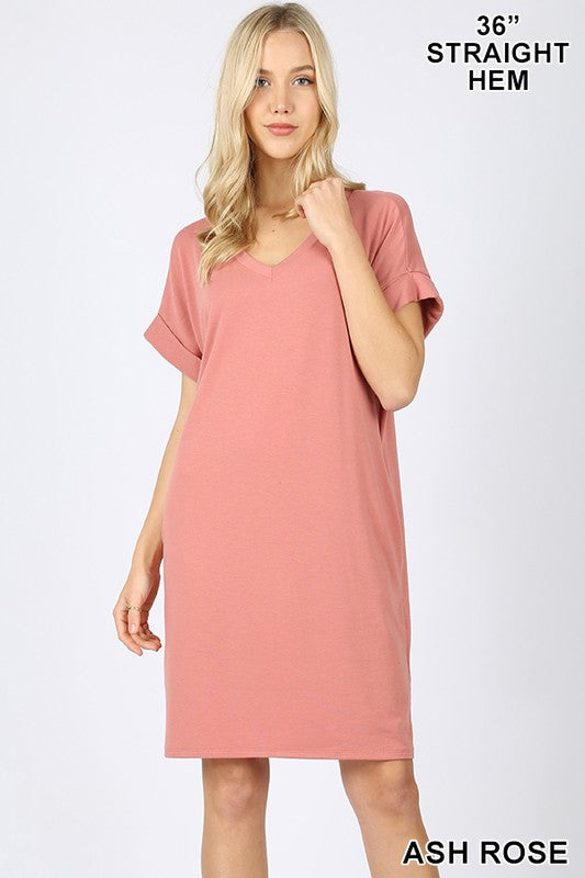 Rolled Sleeve V-Neck Dress (Ash Rose)