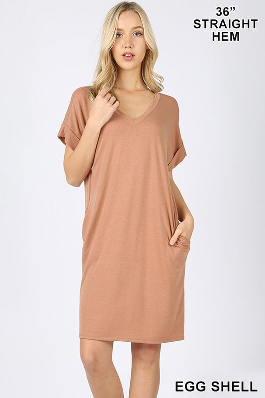 Rolled Sleeve V-Neck Dress (Egg Shell)