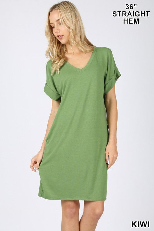 Rolled Sleeve V-Neck Dress (Kiwi)