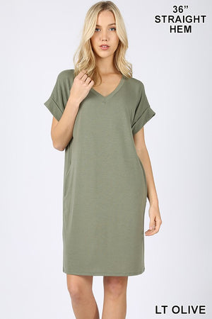 Rolled Sleeve V-Neck Dress (Light Olive)