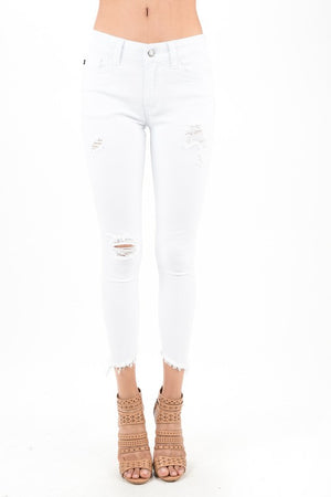Step Hem Distressed Skinny Jeans (White)