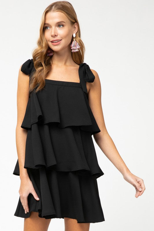Tiered Ruffle Dress (Black)