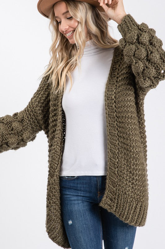 Ball Sleeve Crochet Cardigan (Olive)