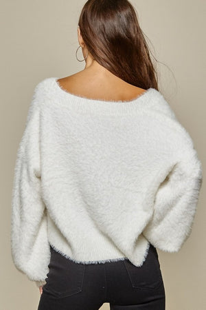 Cropped Fuzzy Sweater (Ivory)