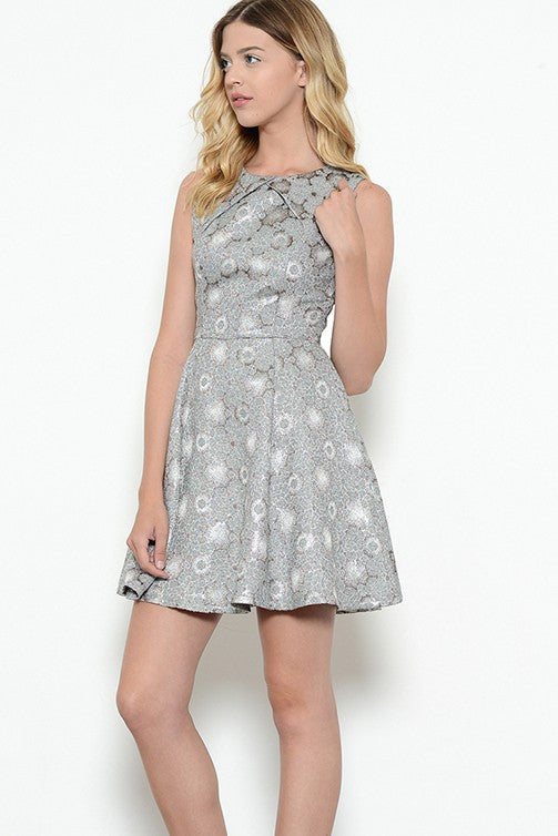 b0db53dc9b9 Metallic Floral Print Dress – Posh Style LLC