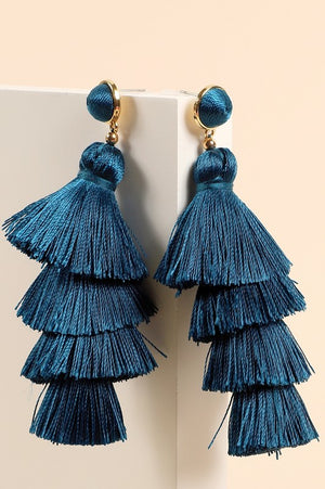 Multi Layer Tassel Earrings (Teal)
