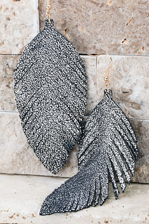 Glitter Leaf Earrings (Silver)