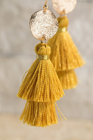 Disc and Tassel Earrings (Mustard)