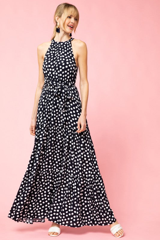 Polka Dot Tiered Maxi Dress