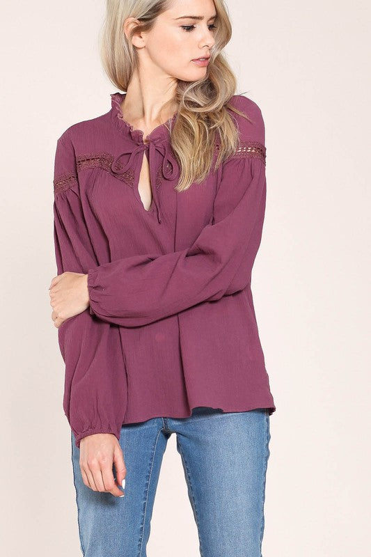 Ruffle Neck Blouse (Cranberry)