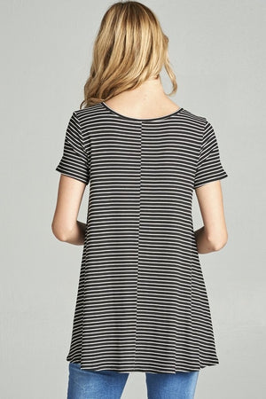 Striped Open Front Top