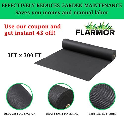 Landscape Weed Barrier Fabric Heavy Duty, Garden Fabric Roll 4X100 ft, 1.8 oz/60 gsm