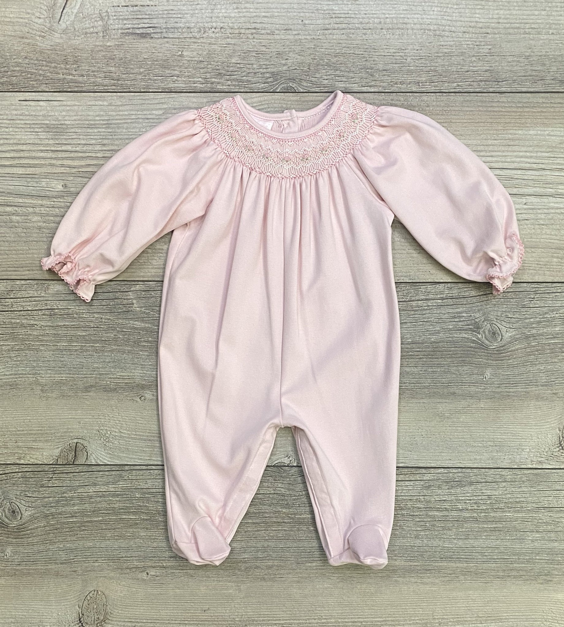 PB Pink Knit Smocked Footie