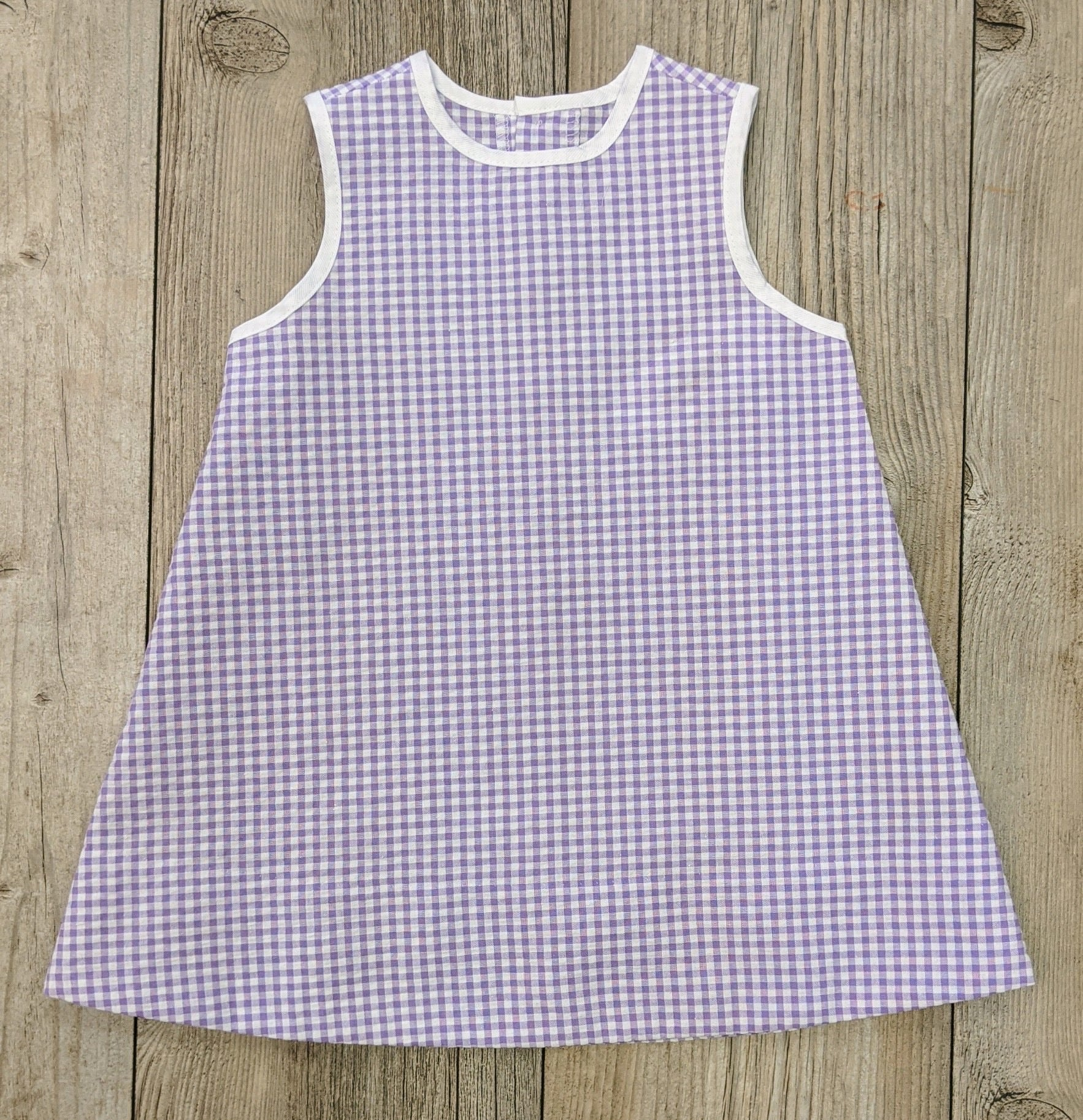 LS Seersucker Gingham Dress Lavender