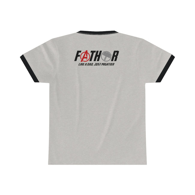 FaTHOR Unisex Ringer Tee w/Logo on Chest and Back - MY TEE USA