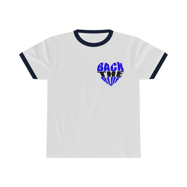 "Back the Blue Heart Unisex Ringer Tee w/Logo on Heart and ""LOVE"" on Back Label"