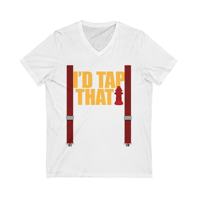 Id Tap That w/Suspenders Unisex Jersey Short Sleeve V-Neck Tee w/Logo on Chest - MY TEE USA