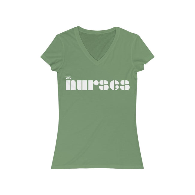 "The Nurses From ""The Doors"" Women's Jersey Short Sleeve V-Neck Tee w/Logo on Chest - MY TEE USA"