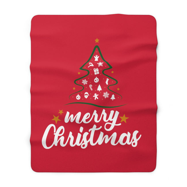"Merry Christmas 60"" x 80"" Sherpa Fleece Blanket - MY TEE USA"