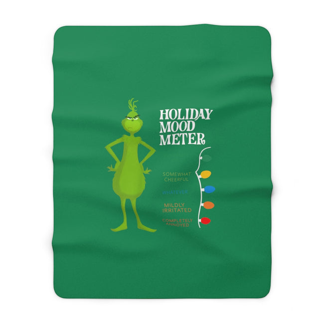 "Grinch Holiday Mood Meter 60"" X 80"" Sherpa Fleece Blanket"