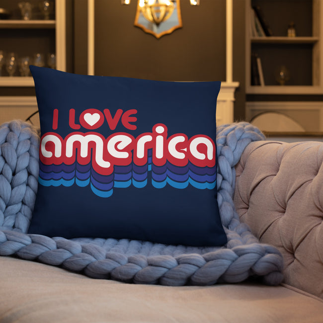 I Love America Accent Pillow In 3 Sizes For Your Home Decor.