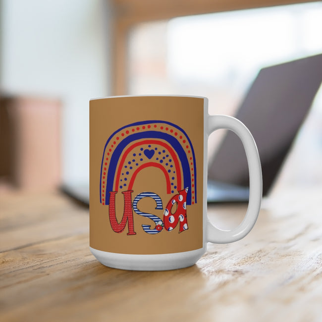 USA Rainbow Ceramic Mug in 11 or 15 oz