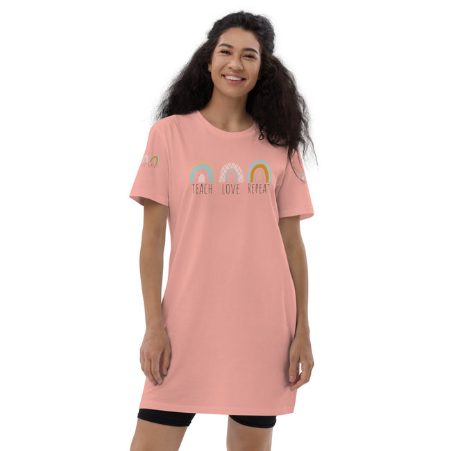 Teach Love Repeat Organic cotton t-shirt dress w/Logo on Chest and Sleeves - MY TEE USA