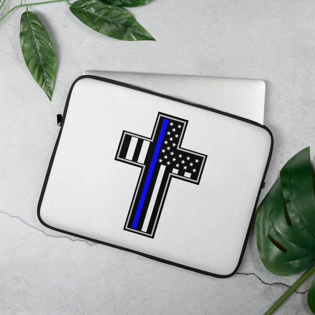 Police Flag in Cross Laptop Sleeve - MY TEE USA