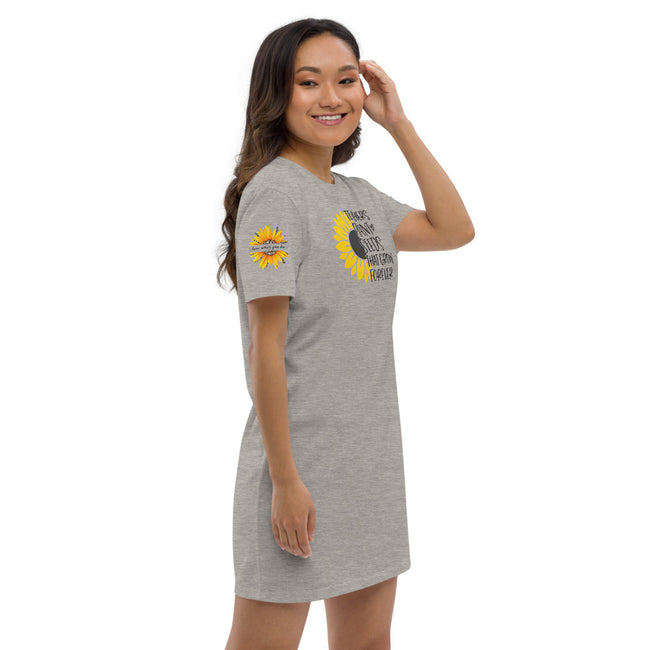 Plant Seeds Organic cotton t-shirt dress w/Logo on Chest and Sunflower on Sleeves - MY TEE USA