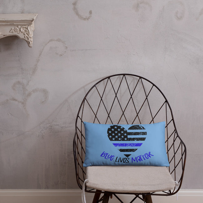 Blue Lives Matter w/Police Badge in Heart Accent Pillow In 3 Sizes For Your Home Decor - MY TEE USA
