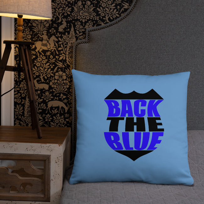 Back the Blue Badge Throw Pillow w/3 Sizes for Your Home Decor - MY TEE USA