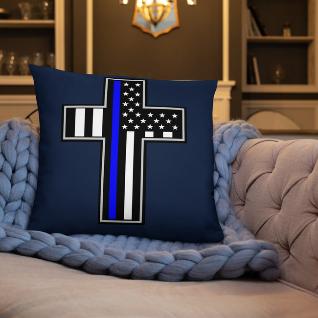 Police Flag in Cross Throw Pillow W/3 Sizes For Your Home Decor
