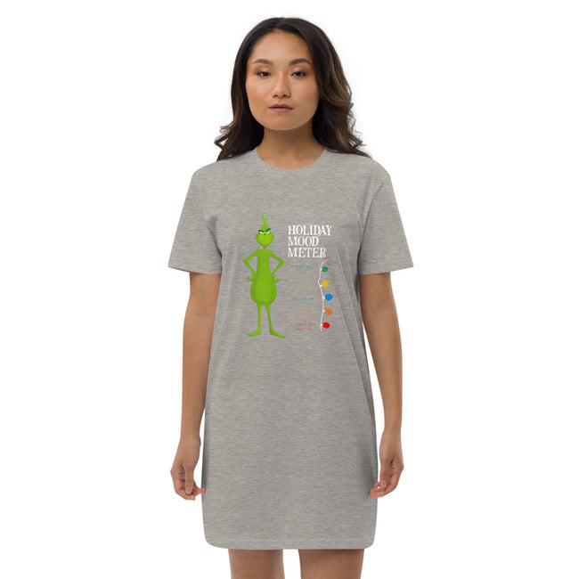 Grinch Holiday Mood Meter Organic cotton t-shirt dress w/Logo on Chest