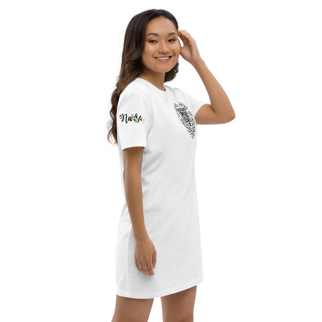"Work of Heart Organic cotton t-shirt dress w/Logo on Heart and ""Nurses"" Logo on Sleeve - MY TEE USA"