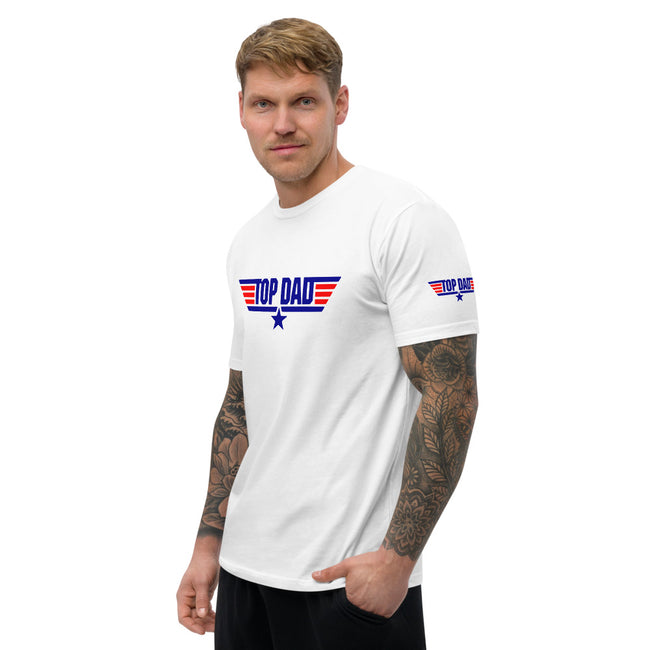 Top Dad Short Sleeve T-shirt w/Logo on Chest and Sleeves - MY TEE USA