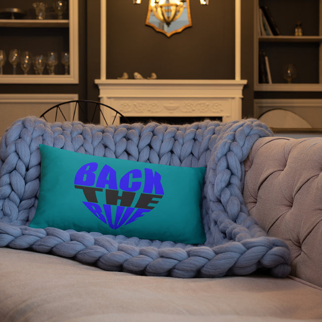 Back the Blue Heart Throw Pillow w/3 Sizes for Your Homes Decor - MY TEE USA