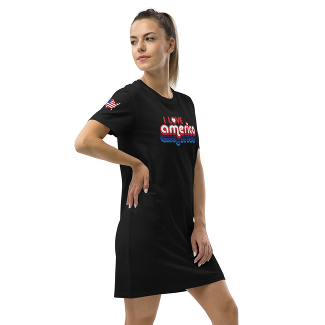 I Love America Organic cotton t-shirt dress w/Logo on Chest & USA Shaped Flag on Sleeves