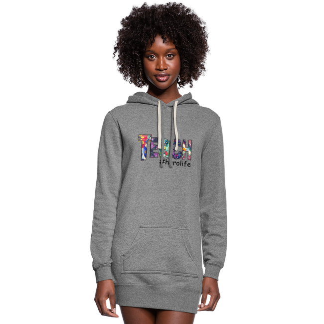 Teach #herolife Women's Hoodie Dress w/Logo on Chest and Back - MY TEE USA