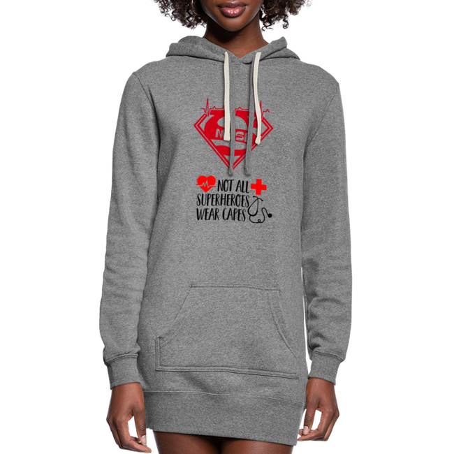 Super Nurse Women's Hoodie Dress w/Logo on Front and Not All Super Heroes Wear Capes on Back - MY TEE USA