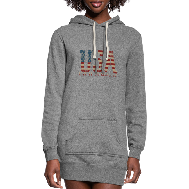 =USA Love It Women's Hoodie Dress w/Logo on Chest and Back - MY TEE USA