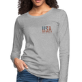 =USA Love It Women's Premium Long Sleeve T-Shirt w/Logo on Heart and Back - MY TEE USA