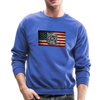 Burned Badge on a Burnt Flag Unisex Crewneck Sweatshirt w/Logo on Chest and Badge on Back - MY TEE USA